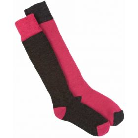 Horizon Nordic 2 Pair Ski Socks in Cerise Charcoal (UK 12.5 - 3 / EU 31-36)