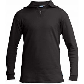 Manbi Womens / Mens Cotton Zip Neck Fleece in Black (Extra Small)