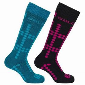 Salomon Kids / Girls / Boys Performance Fit Ski Socks in Black / White / Pink