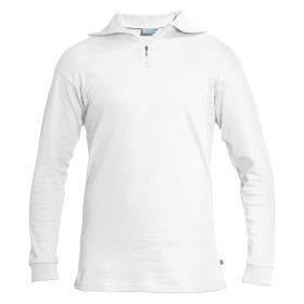 Manbi Womens / Mens Cotton Zip Neck Fleece in White (Extra Extra Large)