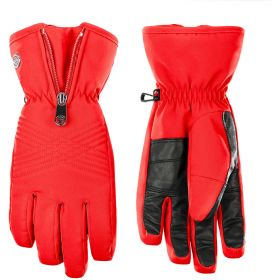 Poivre Blanc Womens Stretch Ski Gloves / Mittens in Red (Small)