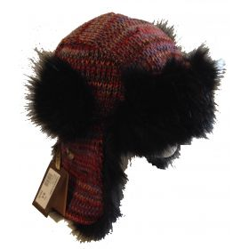 Starling Hat with Ear Covers in Red / Black 02051