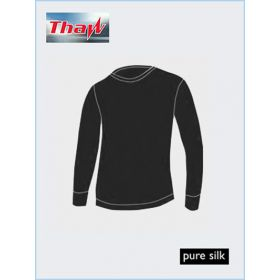 Thaw Mens Long Sleeve Silk Top Base Layer in Black (Large)